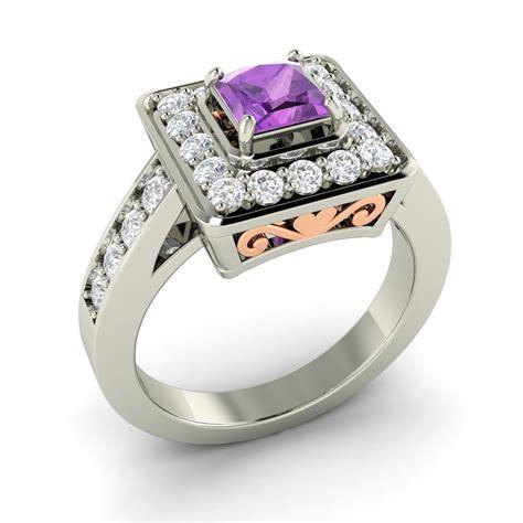 princess cut amethyst engagement ring in 14k white
