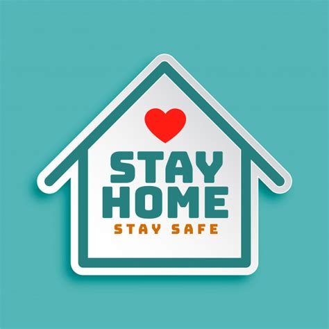 vector stay home stay safe motivational poster design