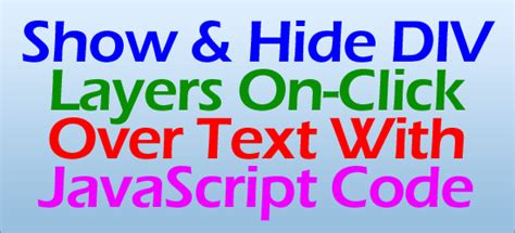 javascript hide div show and hide div layers on click text with