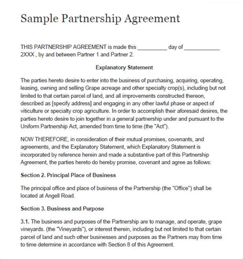 partnership agreements templates sle partnership agreement 7 documents in pdf word