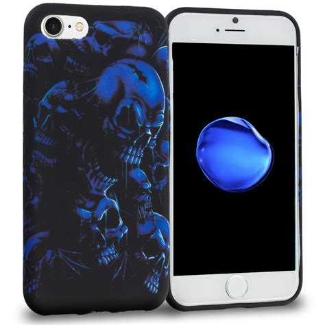 Blue Skulls Iphone 55c5s Cover black blue skull tpu design rubber skin cover for