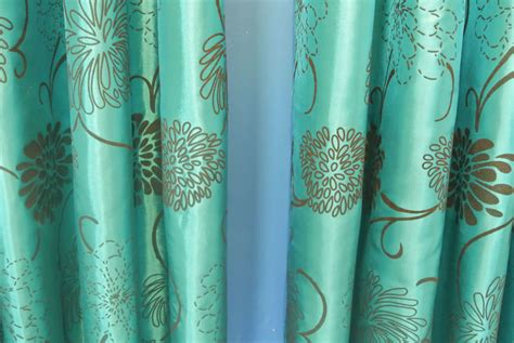 turquoise brown curtains pair of teal blue turquoise brown taffeta eyelet