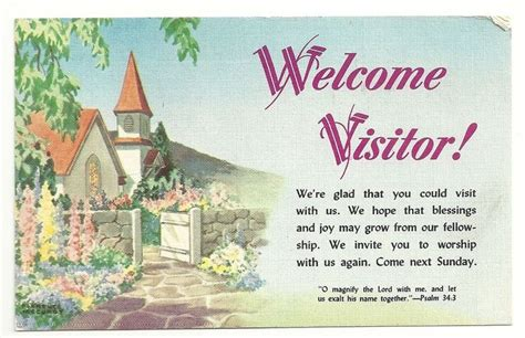 free printable postcards for sunday school welcome visitor greetings religious church posted 1956