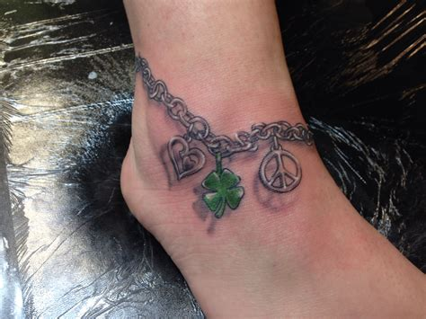 tattoo ankle bracelet with charm designs ankle bracelet with peace sign clover