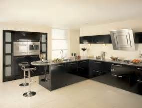 beautiful white and black kitchen ideas with cream floor