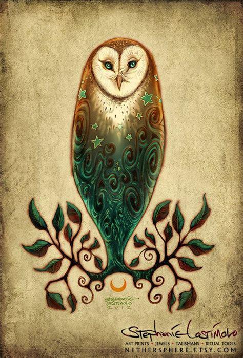 owl tattoo with green eyes solstice owl equinox barn owl tree leaves moon stars