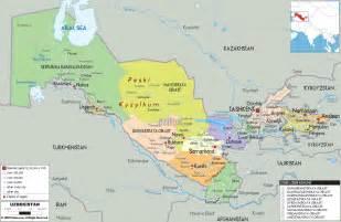 detailed political map of uzbekistan ezilon maps