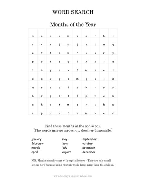 printable word search months of the year free worksheets 187 worksheet on months of the year free