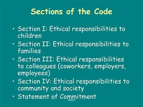 code sections ppt the naeyc code of ethical conduct a position