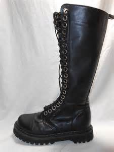 s demonia knee high black leather boots size 8 s