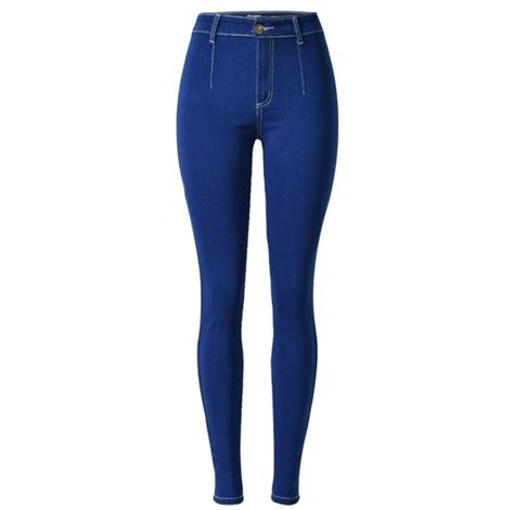 Terlaris Fragnaier Highwaist Slimming Pant high waist slim stretch trousers plus size zipper blue for