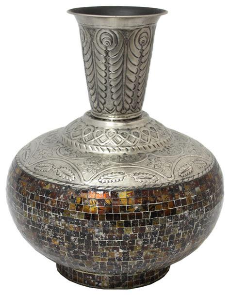 Large Metal Vase Designs Artisan Handcrafted Glass Mosaic Metal Large