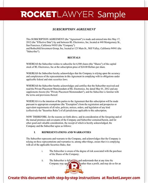 subscription agreement template subscription agreement template stock subscription
