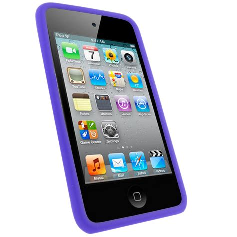 Antibreak Guard Ipod Touch 4th igadgitz purple silicone skin cover for apple ipod