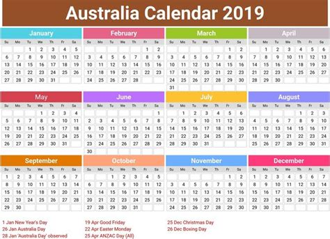 australia  calendar  holidays monthly calendar template printable calendar template