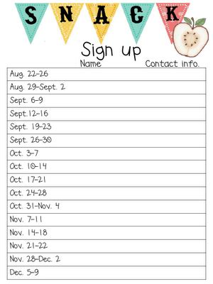 printable sign up schedule free printable spreadsheet for snack sign ups email this