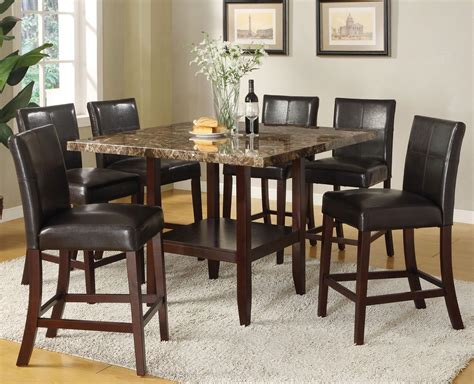 Square Counter Height Dining Table Sets Acme Furniture Idris 7 Counter Height Dining Set With Square Pedestal Table Sol