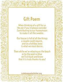 poems about gifts honeymoon poems to and to asking for money