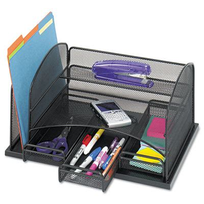 Desk Organizer Scanner Three Drawer Organizer Steel 16 X 11 1 2 X 8 Black Safco 174 3252bl Saf3252bl Desktop Supplies
