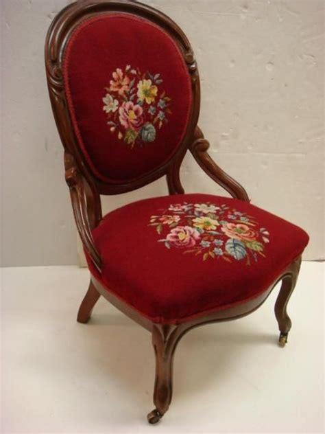 victorian mahogany framed balloon  chair red