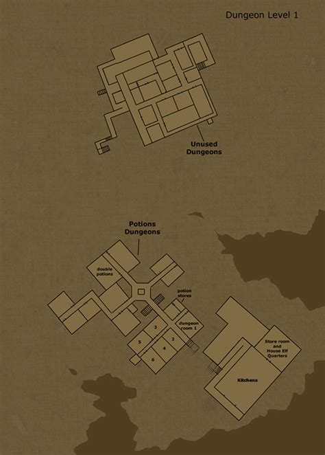 hogwarts castle floor plan theorized floor plan of hogwarts castle dungeon level 1 by