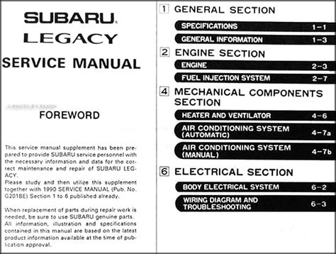 1994 subaru legacy repair shop manual supplement original 1990 subaru legacy repair shop manual supplement original