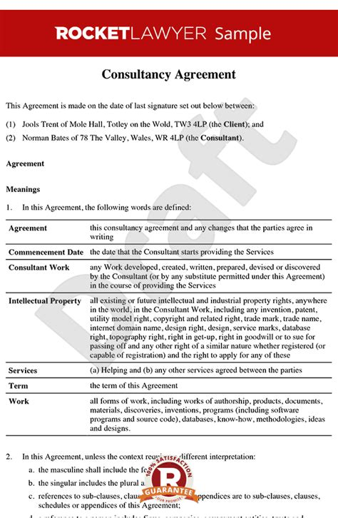 Contract Letter To A Consultant consultancy agreement template contractor agreement