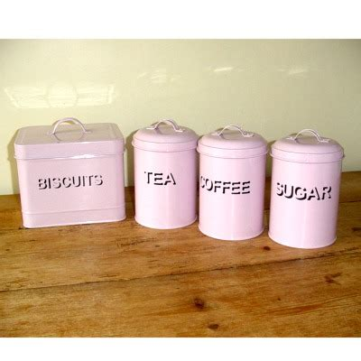 set tea coffee sugar and biscuit canisters pink kitchen