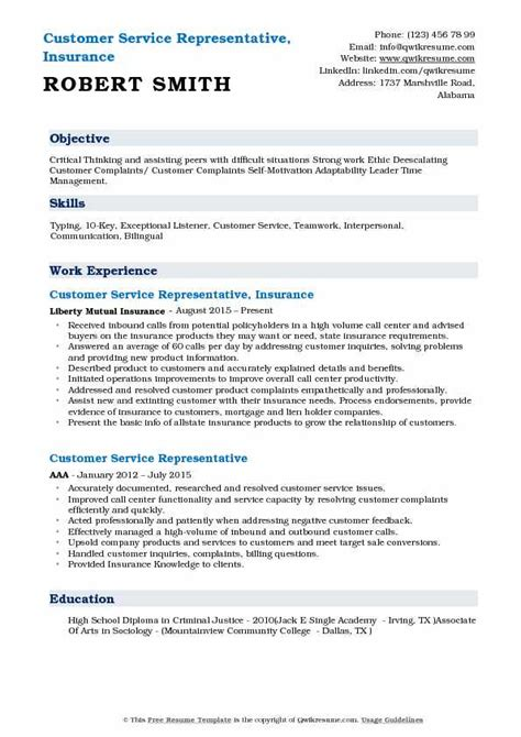 insurance customer service representative resume resume metal