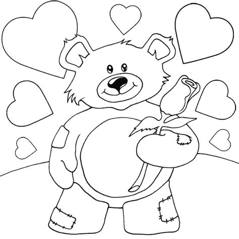 coloring pages of teddy bears with hearts teddy bear with rose coloring page coloring com
