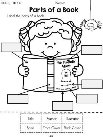 parts of a book report kindergarten language arts worksheets