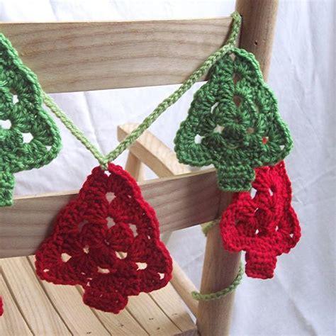 crocheted christmas tree garland ideas trees crochet garland tree style bunting
