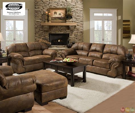 How To Place Sofa In Living Room Pinto Tobacco Finish Microfiber Living Room Sofa And Loveseat Set