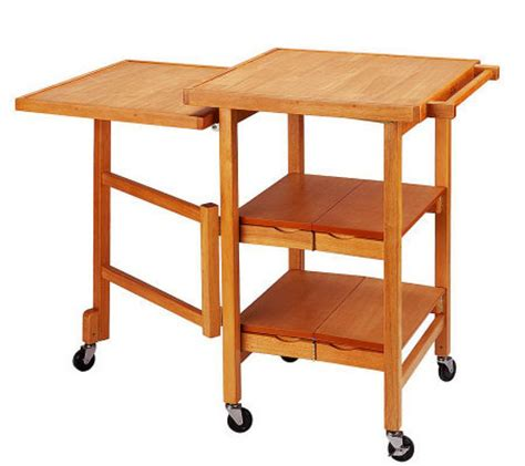 folding kitchen island cart folding island expandable hardwood kitchen cart qvc com