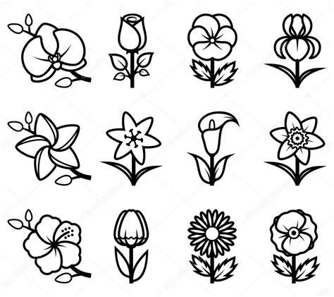 fiori stilizzati vettoriali insieme dell icona di fiori stilizzati vettoriali stock