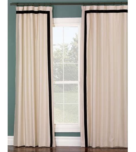 black and ivory curtains ivory curtain panel with black stripe border for the