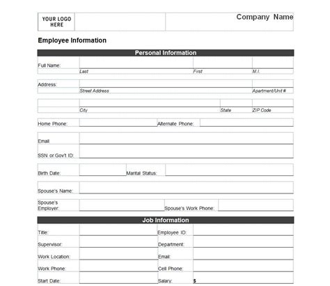 Free Employee Information Sheet Template employee information form employee information form template