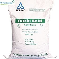 Citric Acid Anhydrous Ex Rrc product pt mulia agung chemindo