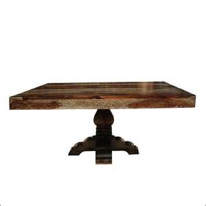 54 Square Dining Table 54 Quot Rustic Solid Wood Carved Pedestal Square Dining