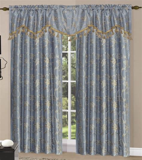 Megan Embroidery Curtain Blue Luxury Home Textiles