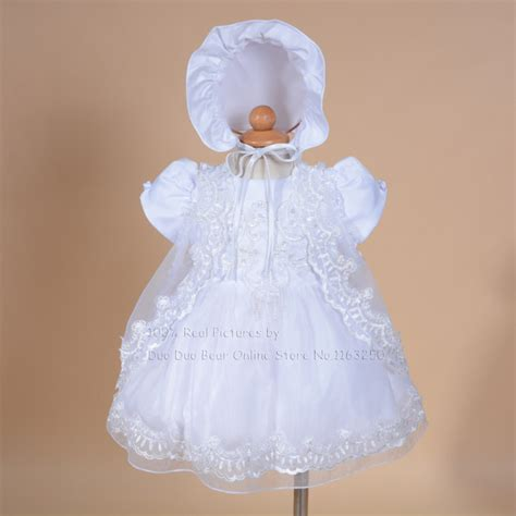 Dress White Babyborn high quality baby dress toddler lace christening gown infant baby baptism dresses new born