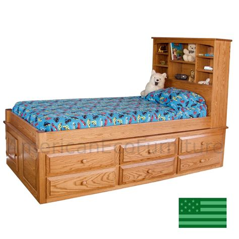 captains bed amish twin captain s bed solid wood usa made children s
