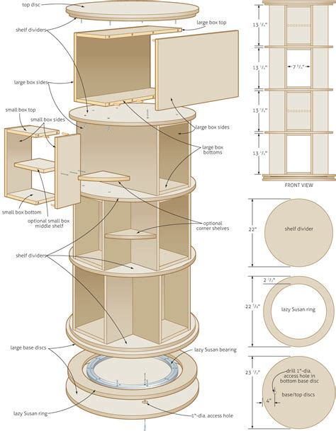 rotating bookcase woodworking plans woodshop plans