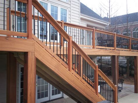metal banister rail hardwood deck railings with decorative metal balusters in st louis st louis decks