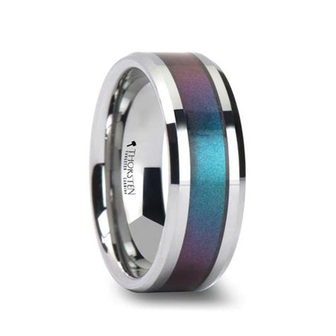 Wedding Bands Hq by Saline Tungsten Wedding Band With Color Changing Inlay