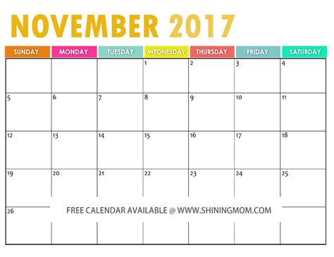 printable calendar for october november and december 2017 free printable november 2017 calendar