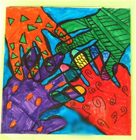 hand pattern art lesson art moments 5th grade overlapping hands