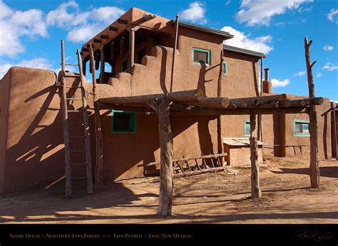 Pueblo Adobe Homes taos pueblo adobe house and ladder hs6625