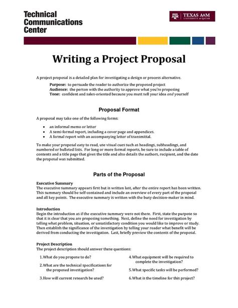 format of good proposal informal proposal letter exle writing a project