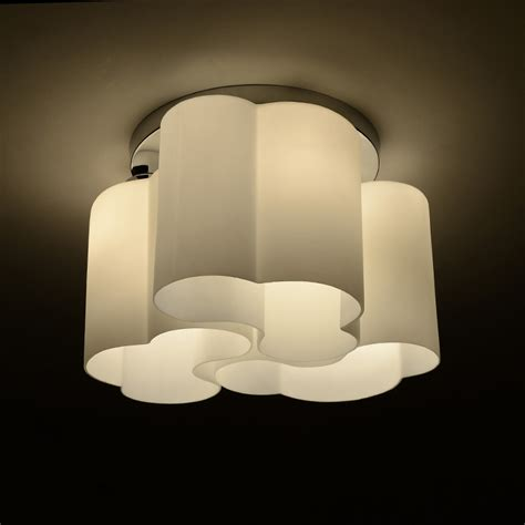 new modern flower drum white cloud shade led ceiling light